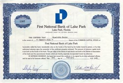 First National Bank of Lake Park - Lake Park, Florida 1985