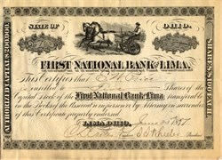 First National Bank of Lima (Vignette of vignette of farmer riding a horse driven plow)  - Ohio 1897