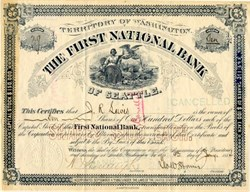 First National Bank of Seattle ( Became Seafirst Bank, now Bank of America) - Territory of Washington, 1889