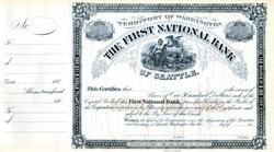 First National Bank of Seattle (Became Seafirst Bank, now Bank of America) - Territory of Washington, 1882
