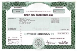 First City Properties Inc. $100,000 Note