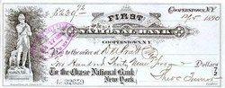 First National Bank of Cooperstown, N.Y. Check 1890's