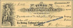First National Bank of Cooperstown Check 1916 - New York