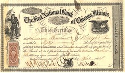 First National Bank of Chicago 1864 - signed by founder - Union Soldier Vignette