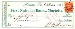 First National Bank of Marietta Check 1868 - Pennsylvania
