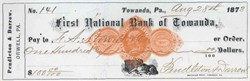 First National Bank of Towanda, Pennsylvania 1873