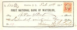 First National Bank of Waterloo Check - New York - 1865 - Issued during Civil War and Reconstruction Era
