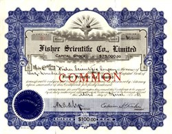 Fisher Scientific Co., Limited (Now Thermo Fisher Scientific) signed by Edwin Fisher - 1938