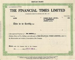 Financial Times Limited - England 1962
