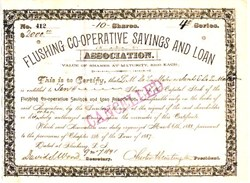 Flushing Co-Operative Savings & Loan Association signed by Chester Huntington - New York 1887