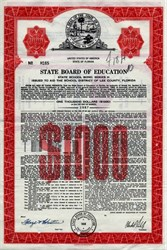 Florida State Board of Education Bond - Fort Myers, Lee County, Florida - 1969