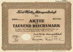 Ford - Werke AG - 1941 -  Ford Motors Stock issued in Germany during WWII - Nazi Slave Labor Company