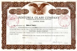 Fostoria Glass Company issued Stock Certificate (Signed by W.F. Dalzell) - Fostoria, Ohio 1947