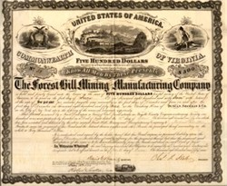 Forest Hill Mining and Manufacturing Company - Fayette County, Virginia 1859