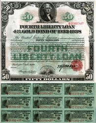 Fourth Liberty Loan of The United States of America - $50 Gold Bond of 1933 - 1938