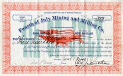 Fourth of July Mining and Milling Company - Montana, Territory 1890