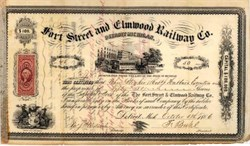 Fort Street and Elmwood Railway Company 1866 - Detroit, Michigan