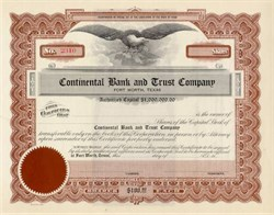 Fort Worth Continential Bank and Trust Co Stock