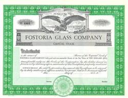 Fostoria Glass Company Stock Certificate - Fostoria Ohio