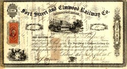 Fort Street and Elmwood Railway Company - Detroit, Michigan 1868