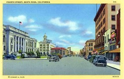 Fourth Street, Santa Rosa California Postcard