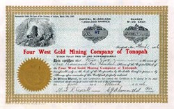 Four West Gold Mining Company of Tonopah 1906 - Territory of Arizona