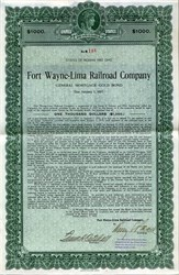 Fort Wayne = Lima Railroad Company General Mortgage Gold Bond - Indiana and Ohio 1927
