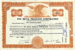 Fox Metal Products Corporation - Colorado 1950