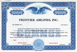 Frontier Airlines, Inc. (Became People Express) - Specimen