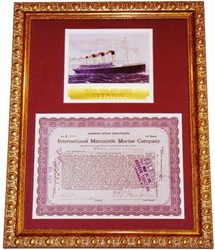 FRAMED Titanic Owner Stock with famous Signature 1915