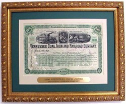 Framed Tennessee Coal, Iron & Railroad Company 1898 - Original Dow Jones Industrial Average Company