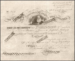 Franklin Fire Insurance Company  Authentic Stock Certificate 1839 - Ben Franklin & Early Fire Apparatus Picture