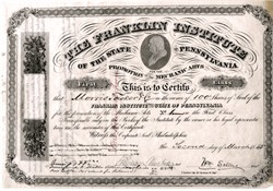 Franklin Institute of the State of Pennsylvania signed by William Sellers as President (Certificate #1) - 1865