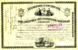 Philadelphia City Passenger Railroad 1890's - Horse drawn street car vignette