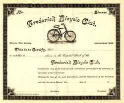 Frederick Bicycle Club with Vignette of Old Bicycle - Frederick, Maryland 1893