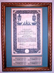 Kingdom of Hungary State Bond Professionally Framed  - Budapest, Hungary 1916
