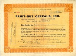 Fruit-Nut Cereals, Inc. (Early Health Food Cereal Maker) - Maine 1922