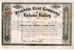 Franklin Coal Company of Lykens Valley (Issued during Civil War) - Massachusetts 1865