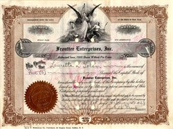 Frontier Enterprises, Inc (Owned by Consoildated Aircraft Corp.)  signed by Reuben H. Fleet (Aviation Pioneer) - 1929