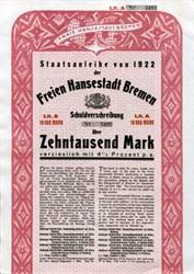 Staatsanleihe von 1922 der Freie Hansestadt Bremen Schuldverschreibung(Free Hanseatic City of Bremen) -  Germany 1922