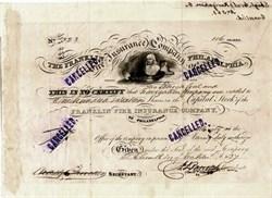 Franklin Insurance Company Philadelphia (Issued to Lehigh Coal and Navigation Company)  - Pennsylvania 1837