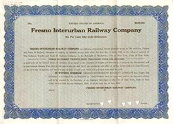 Fresno Interurban Railway Company - $329,000 Gold Loan - California 1928