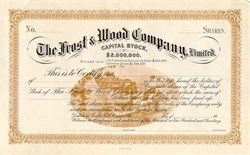 Frost and Wood Farming Equipment Company Certificate - Early 1900's