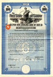 Germany, Free State of Saxony, 6% Loan, �0 bond -1927