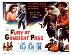 Fury at Gunsight Pass Lobby Card Starring David Brian, Neville Brand, and Richard Long - 1956