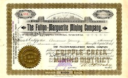 Fulton-Marguerite Mining Company - Cripple Creek , Colorado 1900