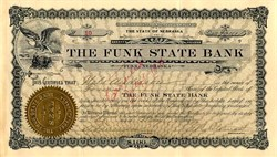Funk State Bank (Funky Bank - Unrelated to Lehman Bros and Bear Stearns)  - Funk, Nebraska 1909