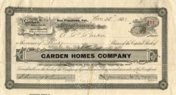 Garden Homes Company signed by Duncan McDuffie - California 1921