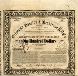Galveston, Houston & Henderson Rail Road Company - 1857