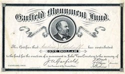 Garfield Monument Fund - Ohio 1884